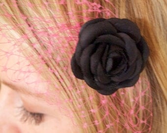 Flower Fascinator with Pink Netting