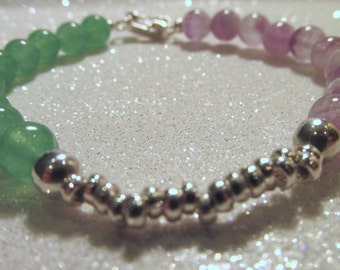Handmade Emerald Green and Dreamy Natural Purple Agate Round Bead With 950 Silver Bead and Clasp