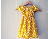 Girls peasant dress, girls summer dress,  mustard yellow,polka dot dress, toddler summer dress- baby girl dresses- lace dress- spring dress