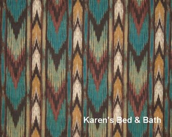 Southwestern Arrow Fabric By the Yard, FQ Western Cowboy Stripe Brown Teal Tan Southwest Cotton Quilting Fabric t4-29