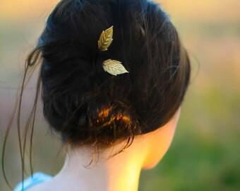 Simple Gold Brass Leaf Bobby Pins Minimalist Leaf Hair Pins  Woodland Chic Golden Brass Leaf Hair PIns