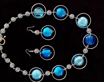 Blue round glass beads necklace, earrings set.