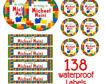 Blocks Kids School Labels Starter Pack - Day Care Waterproof Labels, Kids Name Labels