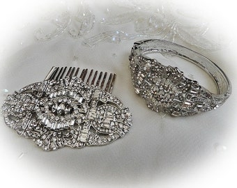 Art Deco vintage 1920's inspired bridal hair comb and bracelet set silver colour