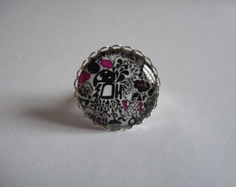Adjustable ring cabochon 25mm patterns