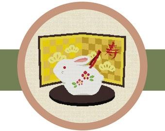 Cross Stitch Pattern Chart, Japanese Little Rabbit