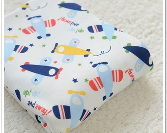 Wide Cotton Knit Fabric, Baby Fabric, Baby Cotton, Stretch Fabric, Airplane- 1/2 yard