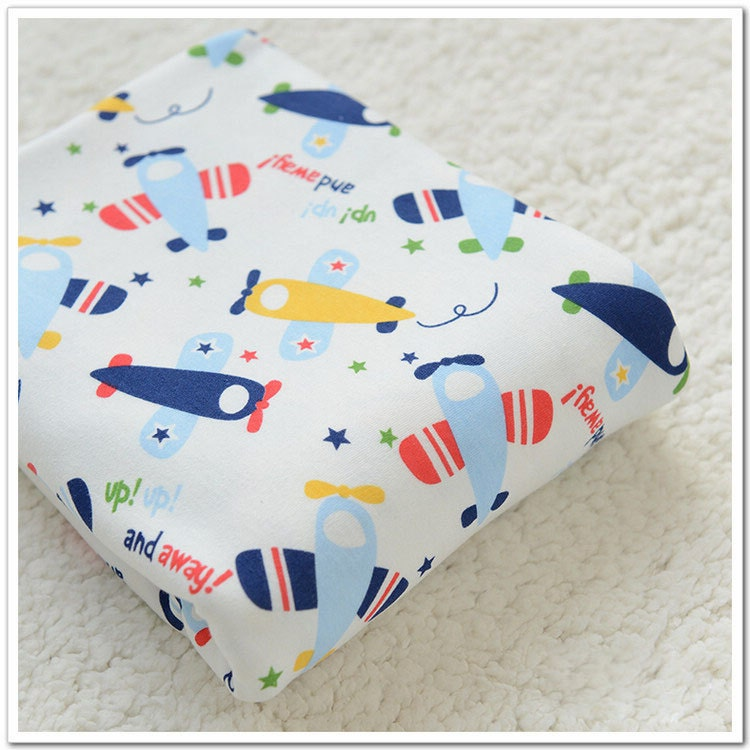 Wide cotton knit fabric baby fabric baby cotton stretch for Childrens airplane fabric