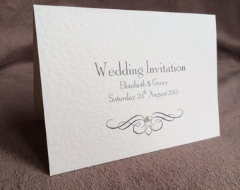 10 x Personalised 'Pearl' Invitations & Matching Envelopes