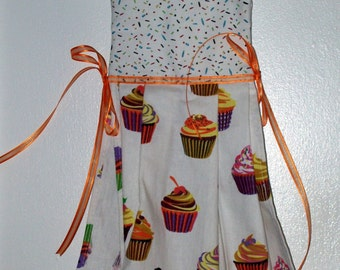 Hanging Towel - Cupcake with Sprinkle Top Trimmed in Orange