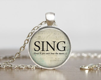 Sing Necklace - Choir Necklace - Music Jewelry - Sing Pendant - Musical Notes