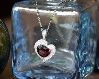 Milgrain Diamond and Heart Garnet Necklace in 14k White Gold January Birthstone Necklace Gemstone Drop Pendant