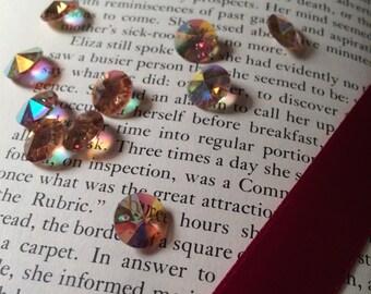 Vintage 10mm Austrian Crystal Beads - AB Light Topaz Coronas - 72 Beads