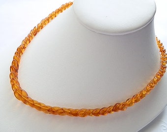 Honey Baltic Amber Necklace with Leaves-Shaped Beads - Circa 1980