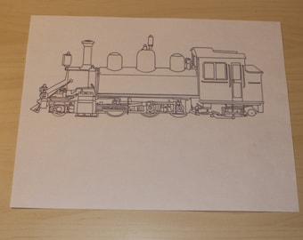 Plotter Ink Pen Drawn Steam Locomotive