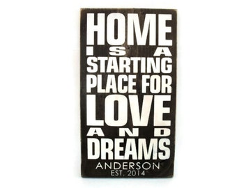 Personalized Rustic Wood Wedding Sign Wall Home Decor Gift - Home is a Starting Place for Love and Dreams (#1244)