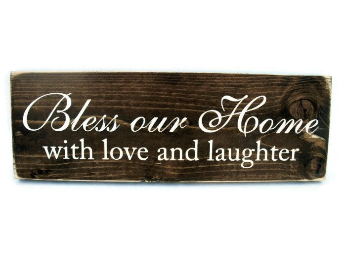 Wood Sign With Quote Rustic Wall Decor Bless Our Home With