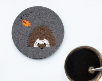 Felt animal Coaster  No.6 Hedgehog, original design,