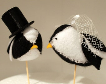 Handmade Felt Lovebird Cake Toppers - Pair of black and white birds, with your choice of accessories