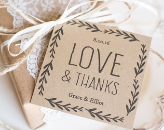 Rustic Wedding Favor Tags, Printable Favor Tag Template, Kraft Paper Label,  - DOWNLOAD Instantly - EDITABLE Text - Love & Thanks, 3x3