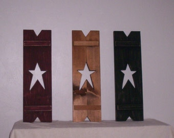 "Appy ""Country"" Star Shutter, Wooden Shutter with Star Design, Decorative Shutter"
