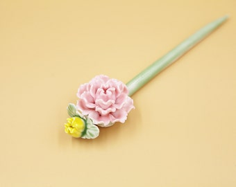 Ceramic Jewelry-hair Pin, Pink Blossom