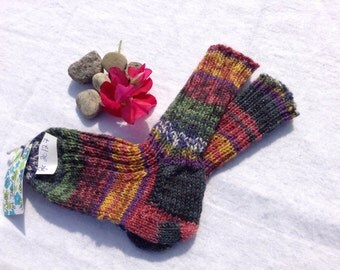 Hand-knitted wool socks Gr. 26 / 27 multi colored with glitter