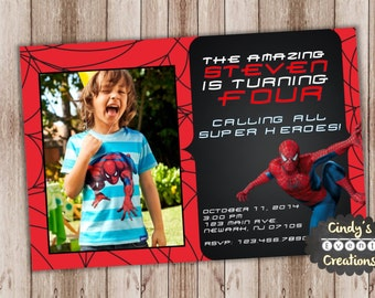 Spiderman Birthday Invitation - Printable Spiderman Invitation