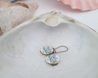 Vintage Something Blue Rose earrings