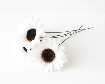 "4 Artificial Silk Flowers Big White Sunflowers With Brown Center measuring 5"" Floral Hair Accessories Flower Supplies Faux Fake"