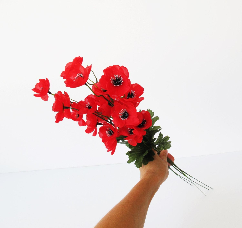 grand sale 5 artificial flowers silk poppy by flowersfield on etsy. Black Bedroom Furniture Sets. Home Design Ideas