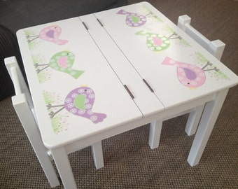 Desk and Chair Set - Bird Design in Pastel Colours, Girls Table and Chair Set with Storage, Children's Furniture, Handmade and Handpainted.