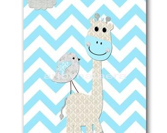 INSTANT Giraffe DOWNLOAD Print Baby Nursery Decor Nursery Digital Print Baby Boy Nursery Art Printable Art Digital Download Art 8x10 11X14