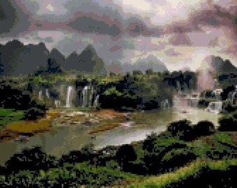 Ban Gioc Waterfall Cross Stitch Chart