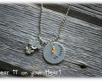 """Disney Winnie the Pooh inspired hand stamped necklace""""oh bother"""""""