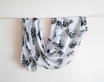 White pirate skull print scarf cotton infinity ready to ship back to school birthday gift cheap gift for her gift for him