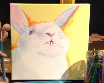 Original painting of smiling bunny, acrylic paint on stretched canvas