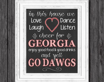 Digital In This House College Spirit Team Sign, University of Georgia, Dawgs, DIGITAL INSTANT DOWNLOAD, 8x10, Chalkboard Print