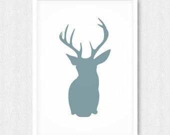 Gray Blue Deer Head Print, Wall Print, Wall Decor, Grey Blue, Antlers, Deer Head Silhouette, Printable, Digital Poster Print, Download