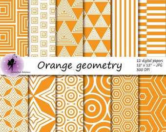 Orange geometry paper, orange geometry Digital Paper, paper with circles, triangles, squares, stripes, Aztec Papers, commercial use