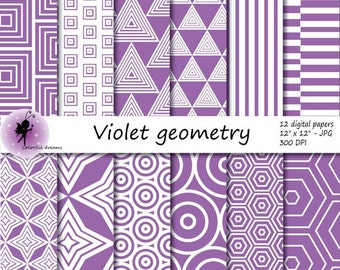 Violet geometry paper, violet Digital Paper, paper with circles, triangles, squares, stripes, hexagons, rhombus, Aztec Papers,commercial use
