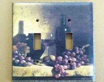 Red Wine and Grapes Light Switch Plate Cover Home Decor *Choose Cover Type*