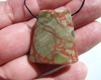 Fire  Mountain Jasper Pendant Bead Ladder Cut 27x26mm