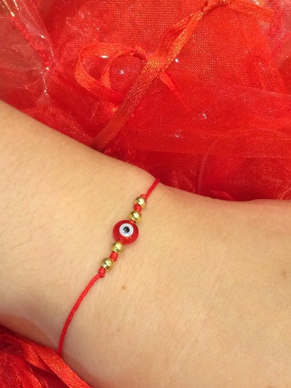 evil eye red string bracelet with gold plated sterling silver beads 1 size fits all