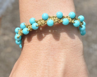 ladder bracelet with blue beads
