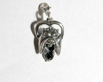 Sterling Silver Maltese Charm With Swarovski Birthstone