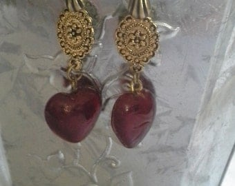 Vintage Inspired Delicate Red Glass Drops = E145
