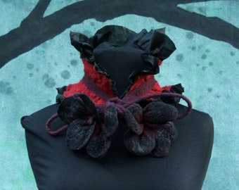 Nuno Felted Collar - Skeksi - Dark Crystal - Ruffled Collar in Black and Red with Flower Ties - Felted Silk and Wool Neck Wrap - Ruff