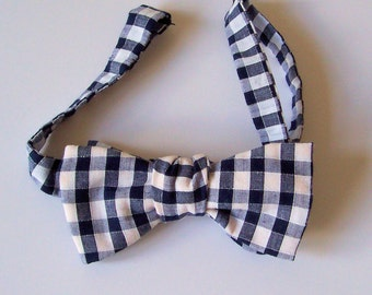 Handmade Freestyle Bow Tie - Black and White Check - Cotton