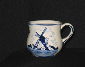 "D.A.I.C.  - Handpainted - Delft - Blue and White  - 3 1/4""  Mug - Windmill-Flowers - Mint Condition"